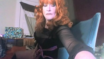 Sexy red headed tranny ms head swallows her...