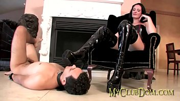 Mistress gets h er boots licked clean  clean