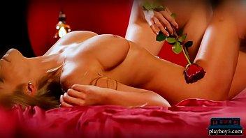 Busty blonde bombshells hot sensual lesbian massage