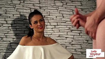 British glamour voyeur tells her sub to tug