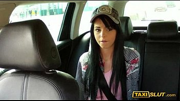 Long black hair honey jessika ripped in a taxi with his driver