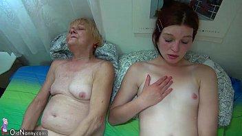 Pretty granny and nice girl masturbating together->