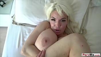 Busty blonde stepmom POV style blowjob and taboo fuck