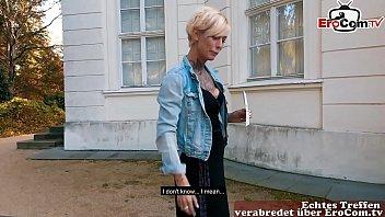 Deutsche ebony Tramperin abgeschleppt und outdoor gebumst