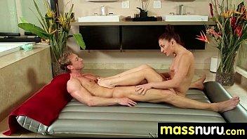 NuruMassage Teen Slides Oily Pussy on Cock 27