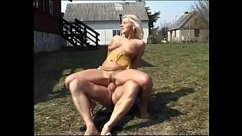 Eager dude so missed intercourse with woman that he penetrated full-breasted MILF with fair hair Anna Maria in front of his country home