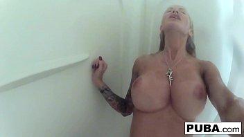 Tattooed, big tittied MIlf Helly Hellfire takes a long shower