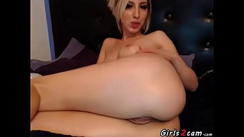 Blonde girl showing her pussy