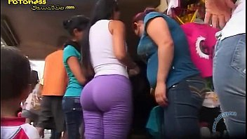 Candid big bottom mexican milf in tights