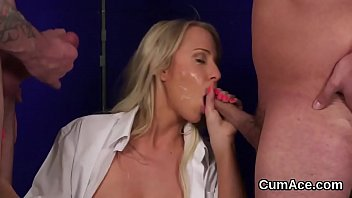 Naughty idol gets cumshot on her face swallowing all the load