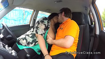 Bbw ebony rides big cock instructor in car
