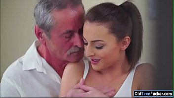 Czech Katy Rose sucks off and old guy before riding his cock