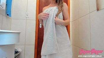 Coming Out Of T he Towel Only Bath Dancing And ath Dancing And Passing Cream On The Body