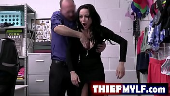 When Crystal Rush tries to walk out of the store wearing an unpaid pair of panty hose, security officer Wrex Oliver catches her before she can escape and brings her to the back room for questioning - FULL SCENE on http://thiefMYLF.com