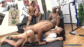 Three black men  destroy the Asian sluts pussy ian sluts pussy