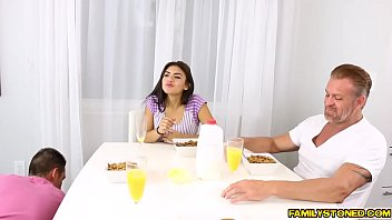 Double teaming slutty Michelle Martinez with big cocks