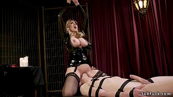 Male in gimp mask worships mistress