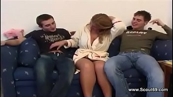 Hot Milf is from Step Son and Friend with Huge Cock Fucked