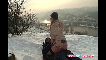 Blonde wife war ms stranger's cock in the  9s cock in the snow