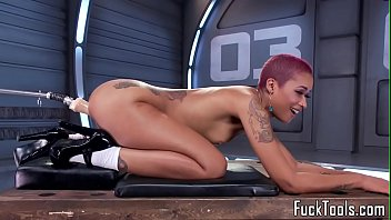 Pink Hair Ebony  Babe Toys Pussy With Dildo y With Dildo