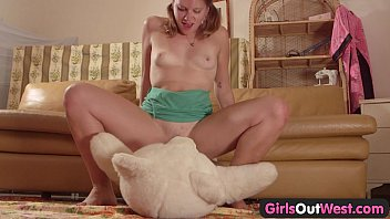 Girls Out West  Amateur cutie fucking a teddy  ucking a teddy bear