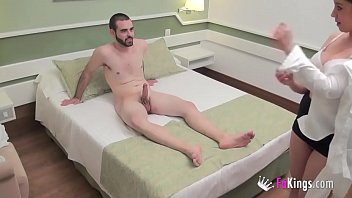 Hidden camera casting with kitty and an amateur guy