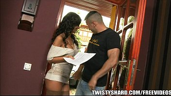 Beautiful Russi an Wife fucks the salesman pai he salesman paid to deliver her