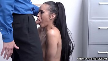 Latina woman Gia Venddetti caught stealing and been handled nicely by officer Brock