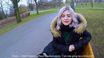 Russian woman who finds a babe in the park and fucks on the bench with him