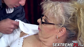 Chubby granny with glasses Viola Jones fucked and facialized