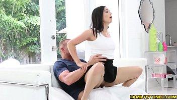 Daddy spreadeagle fucks Malina Mars tight pussy