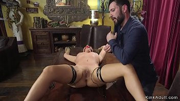 Master torments brunette with electricity