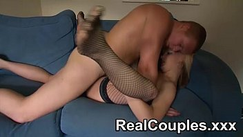 Husband fucks his blonde wife wearing fishnets