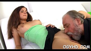 Young girl gives a blow to old knob