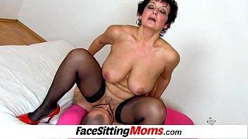 Big natural breasts madam Greta facesitting and muff diving