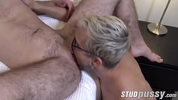Tattooed trans fucked missionary by big cock stud after BJ