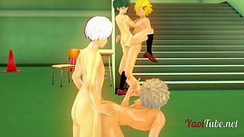 Boku No Hero Yaoi Hentai 3D - Orgy Bakugou Katsuki is fucked by Todoroki Shoto while Deku (Midoriya Izuku)  is Fucked by Kaminari Denki. Anal Creampie Animation Gay