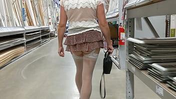 Wife walking around lows no panties short skirt see threw top
