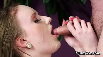 Frisky model gets cumshot on her face gulping all the love juice