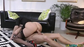 Stockings milf jizzed ass