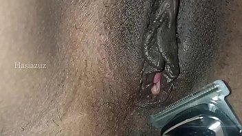 My slave shaving my pussy