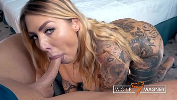 Blonde pussy with tattoos paid to have sex