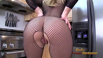 Blonde MILF ripping off her full body fishnet stockings