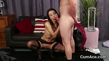 Kinky sex kitten gets cumshot on her face gulping all the love juice