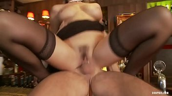Slutty Blonde in Stockings Fucks Horny Hunk in a Bar...