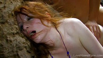 Ginger teen cums with cock in her ass