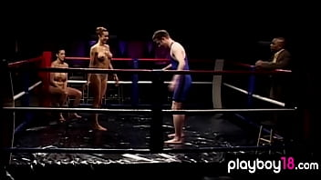 Muscular Busty  Blonde Mature Beating A Dude I eating A Dude In The Boxing Ring