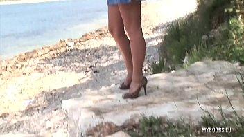 Busty Legend Ines Cudna masturbates at Public Beach thumbnail
