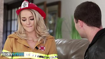Blonde firefighter milks that firehose till it blows - Reality Junkies