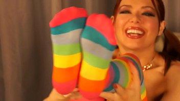 Cum on My Striped Thigh-High Socks Jerk Off Encouragement